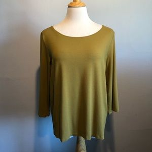 EILEEN FISHER GREEN 3/4 SLEEVE KNIT TOP- Size XL